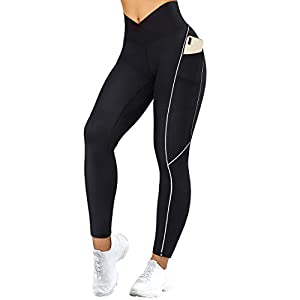 SUUKSESS Women Reflective High Waisted Running Leggings with Pockets Yoga Pants