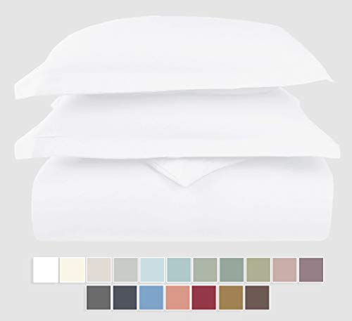 Pizuna 400 Thread Count Cotton Duvet Cover Set Queen White, 100% Long Staple Cotton Bed Set Queen/Full Size, Soft Sateen Bedding Set with Button Closure (100% Cotton White Quilt Cover Set Queen/Full)