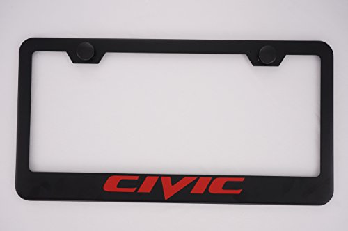 Honda Civic License Plate Frame - Honda Civic Black License Plate Frame with Caps