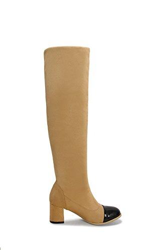 AllhqFashion Damen Ziehen auf Gemischte Farbe Niedriger Absatz Hoch-Spitze Stiefel, Weiß, 34