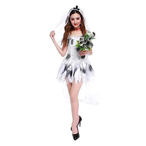 Women's Halloween Carnival Novelty White Bridal Dress Ghost Costume Gal Apparel ()