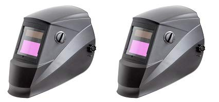 Antra AH6-260-0000 Solar Power Auto Darkening Welding Helmet with Wide Shade Range 4/5-9/9-13 with Grinding Feature Extra lens covers Good for TIG MIG MMA Plasma (2-(Pack))