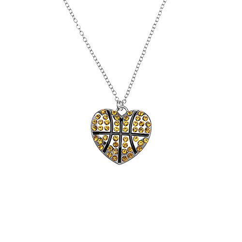 (Sportybella Basketball Necklace for Women, Basketball Jewelry, Basketball Heart Charm Necklace, for Basketball)
