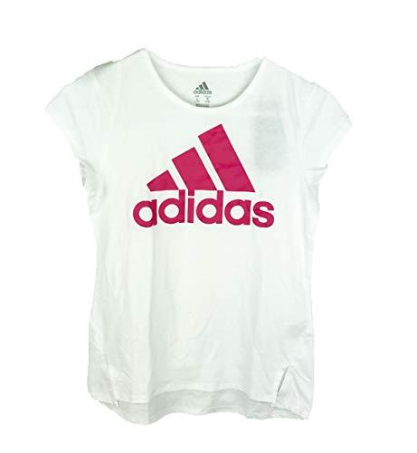 adidas Girl's Short Sleeve Logo Tee, Pink/White, Large
