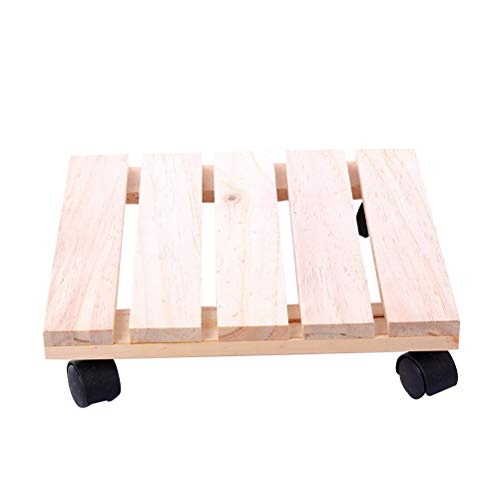 OUNONA Plant Caddy Dolly Wood Square Rolling Plant Stand with Rotating...