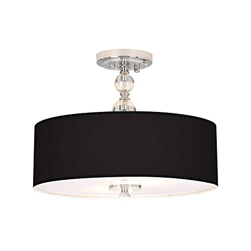 """Modern Ceiling Light Semi Flush Mount Fixture Chrome Crystal 16"""" Wide All Black Printed Giclee Drum Shade for Bedroom Kitchen Living Room Hallway Bathroom - Giclee Gallery"""