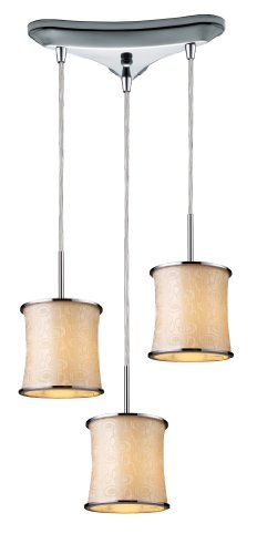 - Elk 20024/3 Fabrique 3-Light Drum Pendants In Polished Chrome with Retro Beige Shades