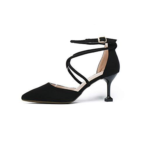 Wild Aguja Boca Black Para 7 La New Con Baotou Hoesczs Mujeres Señaló Zapatos Baja Medianos Gato Individuales Tacones Cm Cruz El De 6IgSxqA