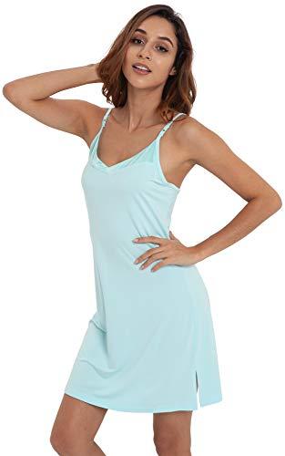NEIWAI Womens Basic Spaghetti Strap Cami Slip Camisole Sleep Dress Aqua Green XL
