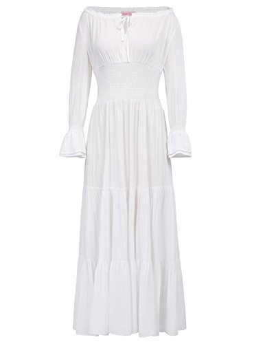 Tiered Peasant Skirt (Belle Poque Womens Gypsy Tiered Smock Waist Long Maxi Boho Peasant Dress White Size S BP225-4)