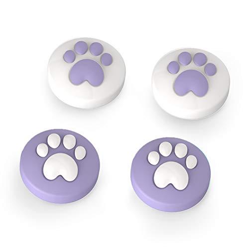 LeyuSmart Cat Claw Design Thumb Grip Caps, Joystick Cap for Nintendo Switch & Lite, Soft Silicone Cover for Joy-Con Controller (Purple)