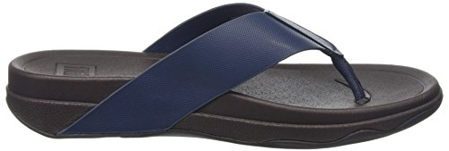 Fitflop Surfer (Leather), Sandalias de Punta Descubierta Para Hombre Azul (Midnight Navy)
