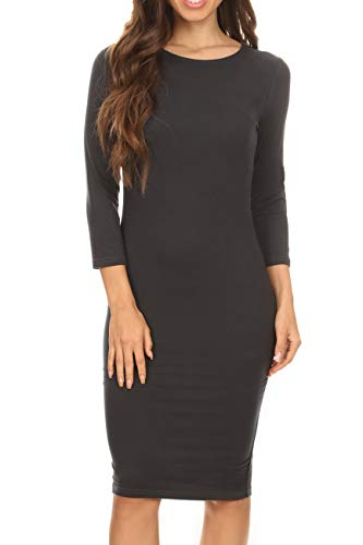 ICONOFLASH Women's Charcoal 3/4 Sleeve Bodycon Midi Dress - Crew Neck Fitted Dress Size Medium