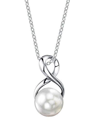 THE PEARL SOURCE 9-10mm Genuine White Freshwater Cultured Pearl Infinity Pendant Necklace for Women]()