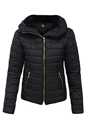 Gold Coat Bubble Thick Zip Jacket Quilted Outlet Oops Puffer Black Fashion Padded Womens Hooded Ladies Up Collared Fur Star Faux xfzwq1I