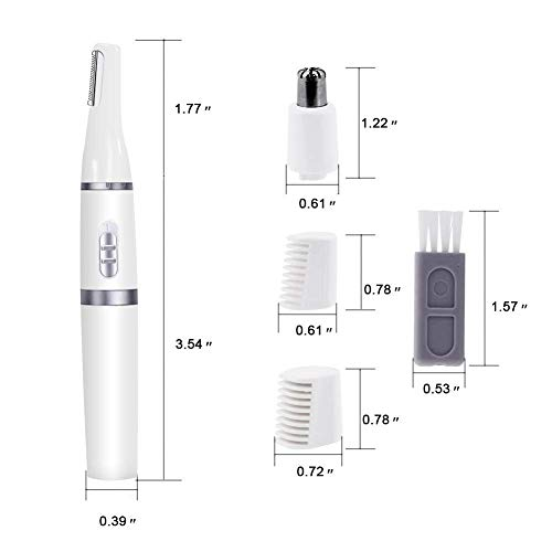Nose Hair Trimmer for Women Men Electrical Ear & Nose Hair Clippers Portable 2 in 1 Professional Painless Hair Trimmer for Eyebrows, Beard and Leg Wet/Dry Easy Cleaning Battery-Operated