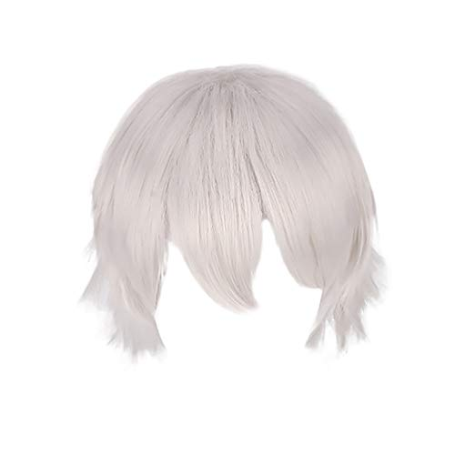 Multi Color Short Straight Hair Wig Anime Bob Party Cosplay Halloween Christmas Carnival Wigs 35cm (35cm, Silver) ()