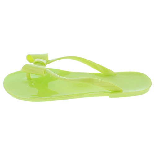 On Trim Spot Flat Jelly Toepost Yellow Bow 7dqgpOq