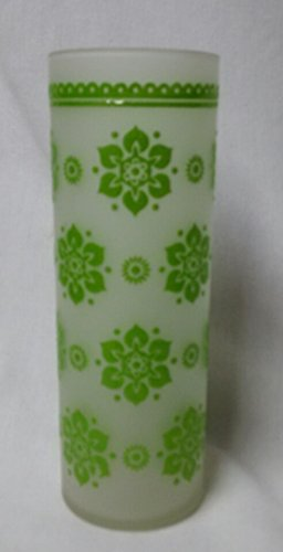 Vintage Highball Glass - White Frosted with Green Embossed Flower Design - Frosted Highball Glass