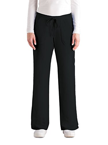 's Junior Fit 4-Pocket Elastic Back Scrub Pants, Black, Small (Cargo Flare Pant)