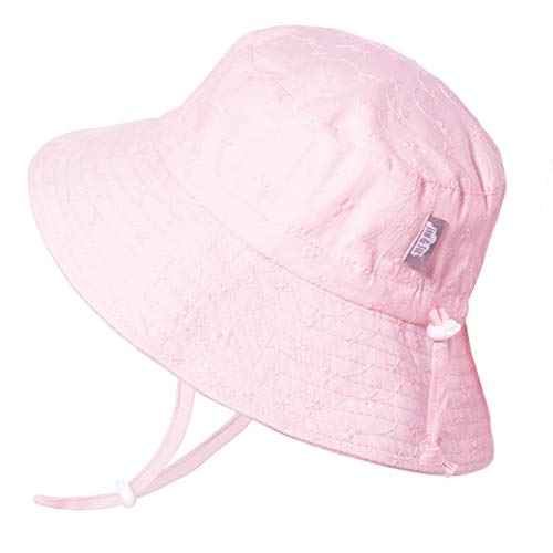 JAN & JUL Newborn Infant Baby Girl Cotton Bucket Sun Hat 50 UPF Protection, Adjustable Good Fit, Stay-on Tie (S: 0-6m, Pink -