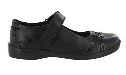 Girls Buckle My Shoe Diamond Black Leather Shoe Various Sizes