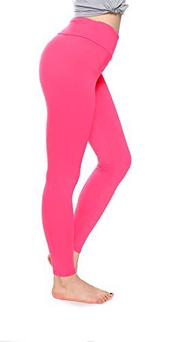 (Soft Leggings for Women-Regular and Plus Size Leggings with Hidden Inner Pocket-Full Length, Soild Color (Tween, Fuschia))