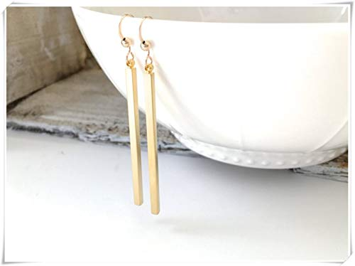 Long Bar Dangle Earrings, Rose Gold Long Bar Earrings, Gold Spear Earrings, Delicate Jewelry, Pure Handmade.