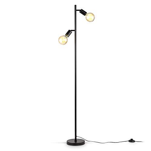 B.K.Licht I Vloerlamp I retro lamp voor binnen I industrieel lamp voor woonkamer I zwart I staande lamp I metaal I…
