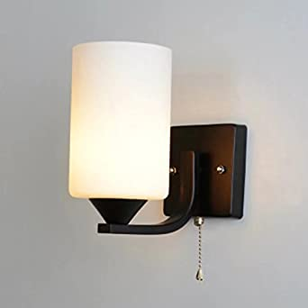 Modern wall lights indoor wall lamp metal base glass lampshade with modern wall lightsindoor wall lamp metal base glass lampshade with pull switch wall lighting aloadofball Image collections