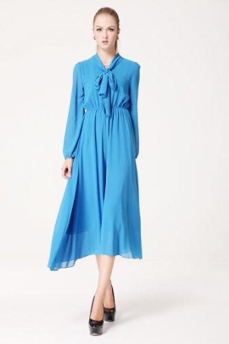 New Bow collar hakama Long Sleeve Long Loose Wide Leg Jumpsuit Dress (L)