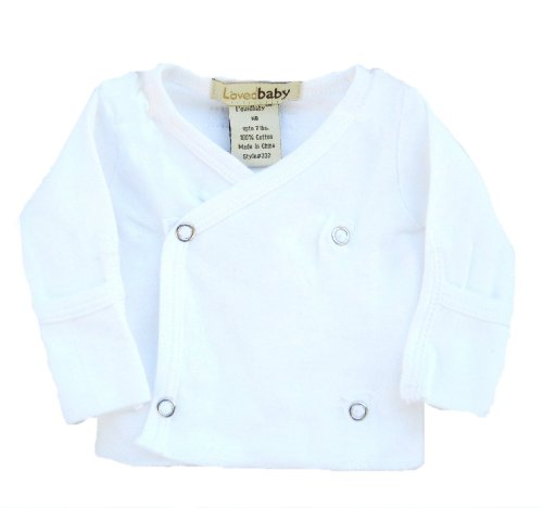 L'ovedbaby Wrap Shirt, White Newborn (up to 7 lbs.)