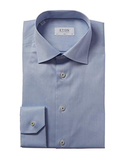 Eton Mens Slim Fit Dress Shirt, 43, Blue