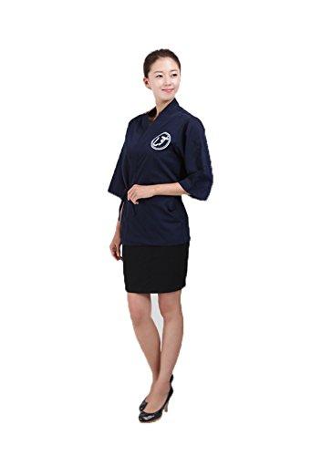 Japanese dark blue chef coat jacket sushi for women restaurant catering Uniform M, Blue for women by ChefsUniforms