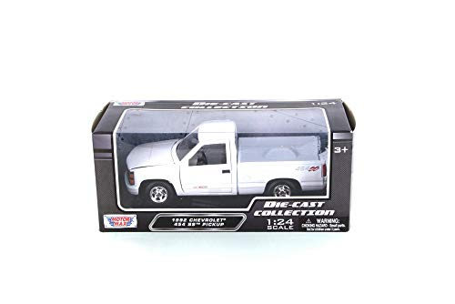 - Motor Max 1992 Chevy 454 SS Pickup Truck, White 73203WH - 1/24 Scale Diecast Model Toy Car