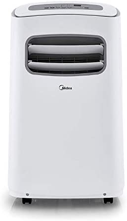 MIDEA MPF10CR81-E Portable Air Conditioner 10000 BTU Easycool AC Cooling, Dehumidifier and Fan Functions for Rooms up to 150 Sq, ft. with Remote Control, 10,000, White