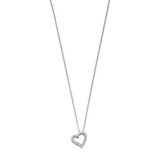 9ct or blanc 0,13CT Diamant Pendentif en forme de cœur avec chaîne 45,7cm/45cm Collier