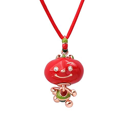 MXMYFF Ladies Pendant Necklace Copper Plated 18K Gold Red Enamel Fruit Pendant Necklace Fashion Simple Rope Chain Necklace