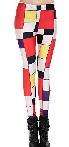 QZUnique Women's Mondrian Style Skinny Sexy Leggings