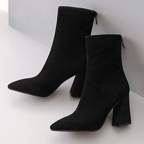 pour Mes Et HBDLH De Martin Chaussures L'Automne Femme Femmes Zipper Rude Cuir l'hiver du des black Bottes Bottes Talon Chaussures qf5qtgFx