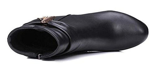 Chfso Womens À La Mode Solide Ronde Orteil Pendentif Zipper Haute Chunky Talon Plate-forme Martin Bottines Noir