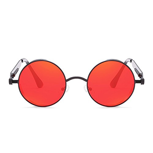 Vintage Steampunk Sunglasses Retro Round Circle Spring Legs Metal Black Frame Red ()