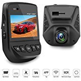 """Car Dash Cam Dash Camera Recorder FHD1080P Car DVR Built-In WiFi APP Support G-Sensor Loop Recording Parking Monitor WDR 2.45"""" LCD Screen 150 wide angle"""