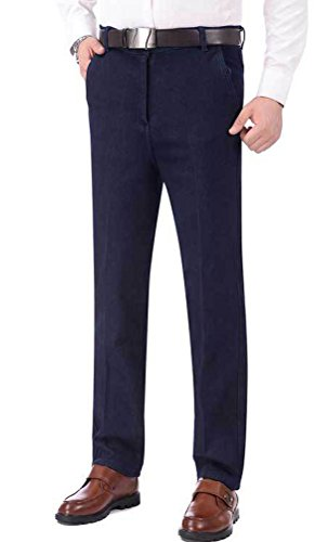 (Soojun Mens Fashion Pleated Fleece Lined Stretch Jeans, Navy, 37W)