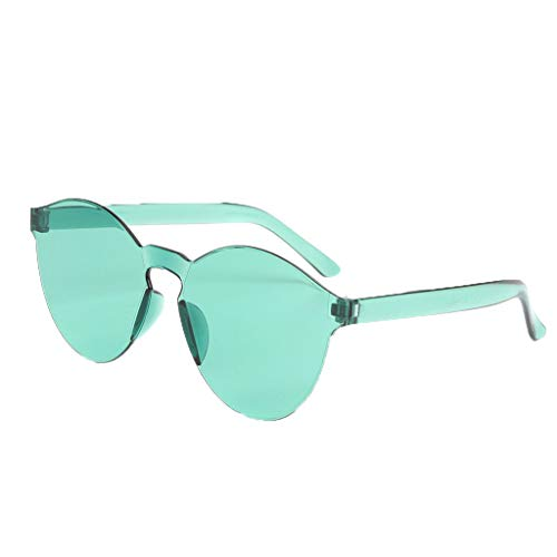 SUNyongsh Frameless Transparent Glasses Europe Candy Color Stylish Style Design Couple Sunglasses Green
