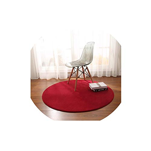 Round Carpet Solid Color Simple Coral Fleece Mat Bedroom Study Rug Chair Hanging Basket Computer Swivel Chair Blanket,10,Diameter 0.8M (Swivel Chair Plaid)