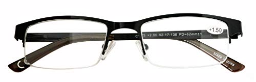 Eyecedar Metal Half-Frame Reading Glasses Men 5-Pack Spring Hinges Stainless Steel Material Includes 5-Cloth Pouch And Sun Readers 1.50 by eyecedar (Image #2)