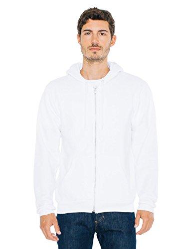 American Apparel  Unisex Flex Fleece Zip Hoodie, White, Large