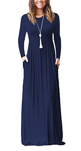 LHS Charmer Women Long Sleeve Loose Plain Maxi Dresses for sale  Delivered anywhere in USA