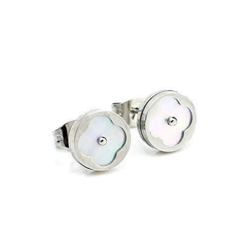 Petite Silver (White Gold) Tone Post Earrings with Contemporary Cut Out Clover Design and Faux Mother-Of-Pearl Inlay (160049)